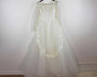 Vintage 1950's Wedding Gown Fink Originals Dress Lace Full Skirt Sheer Chiffon Ruched Train Button Back Retro Classic