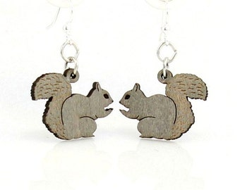 Squirrel Earrings - Wooden Laser Cut