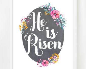 Easter Decor Printable | Spring Printable | INSTANT DOWNLOAD | Spring Decor | He is Risen | Easter Home Decor | Spring Home Decor