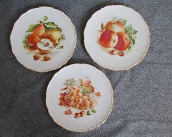 Vintage Schumann Arzberg Bavaria Apples, Grapes, and Pear Salad Plates, SCHUMANN ARZBERG BAVARIA, Collectible Fruit Plates