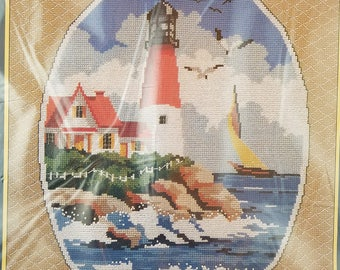 Counted Cross Stitch Kit Lighthouse and Sailboat UNOPENED