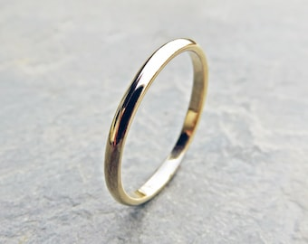 2mm Classic Gold Wedding Band, 14k Yellow, White, or Rose Gold - Traditional Wedding or Promise Ring, Choose Polished or Matte - Half Round