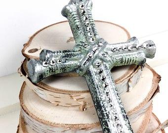 Silver and Swarovski crystal adorned hanging wall cross