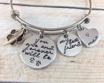 Pet Memorial Bangle Bracelet, Pet Loss Bracelet, My Best Friend Bracelet, Dog/Cat Loss bracelet, Pet Memorial Bracelet
