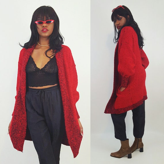 80's Boucle Knit Red Oversized Slouchy Cardigan Jacket One Size - Slouchy Open Long Knit Cardi w/ Side Pockets - Vtg Red Black Long Layer