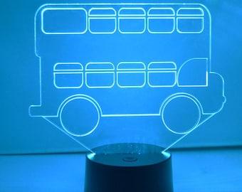Double Decker Bus LED Colour Changing Acrylic Light