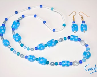 Blue Glass Bead Necklace and Earring Set 66cm [S1BL6600003]