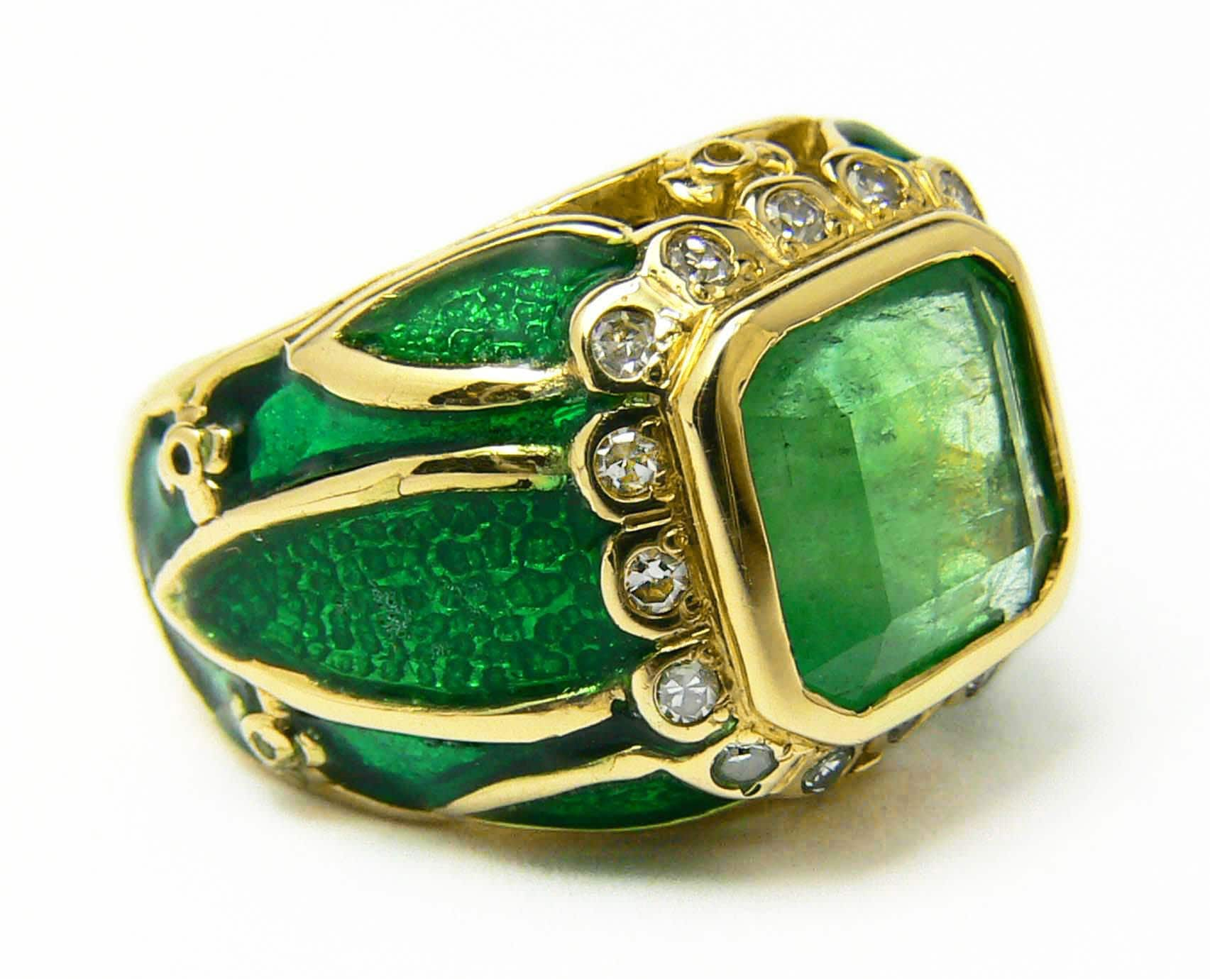 Well-liked 4.30tcw Colombian Emerald Diamond Enamel & Gold Cocktail UU97