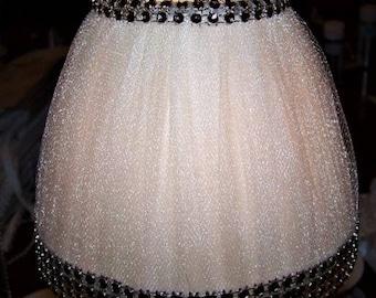 Shimmer Beige Tulle with Beaded Fringe Mini Chandelier Lamp Shade Elegant Chic Decor