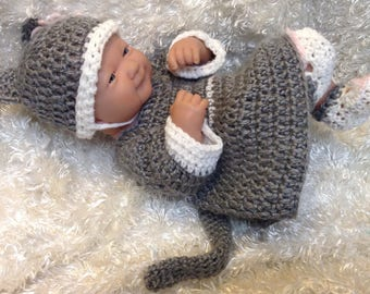 14 Inch Doll clothes.Gray White Kitten,Cat Dress Set,Gifts for kids.Doll dresses for 14 inch dolls.Dress.Hat,shoes,crocheted