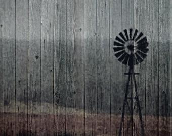 5x7 Windmill Wood Photo Print