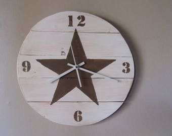 Pendulum wall clock made of recycled wood star taupe