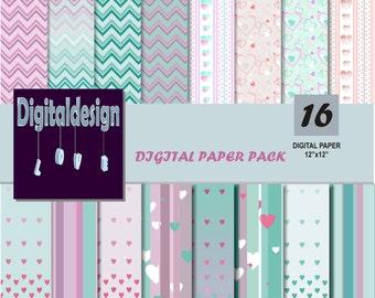 Digital paper pack heart digital paper hearts scrapbook papers background chevron stripe heart digital papers PRINTABLE Instant Download