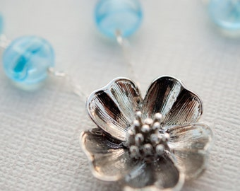 ON SALE Baby Blue Glass and Flower Necklace and Earring Set
