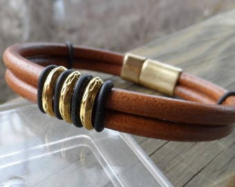 Men's Double Strand Leather Bracelet with Saddle Leather; Black and Antique Gold Sliders and Magnetic Notched Clasp