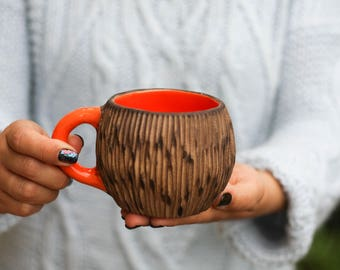 Orange rustic mugs Rustic mug Coffee mug Woodland cup Handmade cup Unique mug Mother gift Birthday gift Christmas gift Girlfriend gift