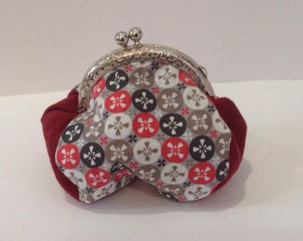 Vintage pinwheel coin purse and Red suede