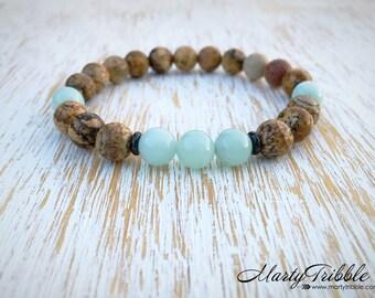 Jasper Amazonite Bracelet, Mens Bracelet, Mala Beads Bracelet, Boho Bracelet, Amazonite Jewelry, Earthy Jewelry, Healing Crystal Bracelet
