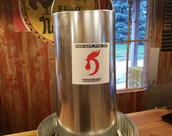 Duncan's Poultry 50 LB Hanging Chicken Feeder - It's heavy duty - Galvanized Steel - Will Hold an Entire Bag of Feed!