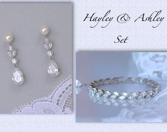 Bridal Jewelry Set, Crystal Bracelet & Earrings Set, Bridal Earrings Set, Tennis Bracelet, Crystal Bridal Jewelry, Hayley/Ashley
