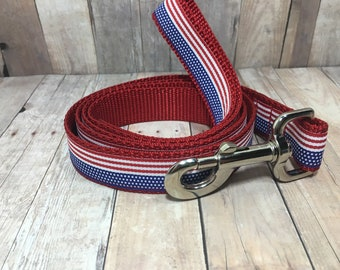 "The Freedom Leash | Designer 1"" or 3/4"" Width Dog Leash | CupcakePups Collars | Fourth of July | American Flag | Patriotic Dog Leash"