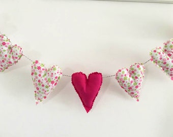 Heart Garland / BUNTING including 7 sewn hearts ,100% cotton fabric ,Nursery decor, Party, Photography Prop...