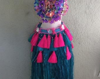 Tahitian Costume - Raffia Skirt - Polynesian skirt - Hawaiian Grass Skirt - Luau Skirt