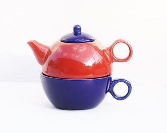 Teapot and Cup set, Colored Teapot and Cup, Three Piece Teapot Set, Red Teapot and Blue Cup, Two in One Teapot and Cup set