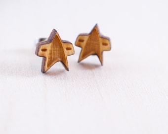 Star Trek Stud Earrings | Wood Stud Earrings
