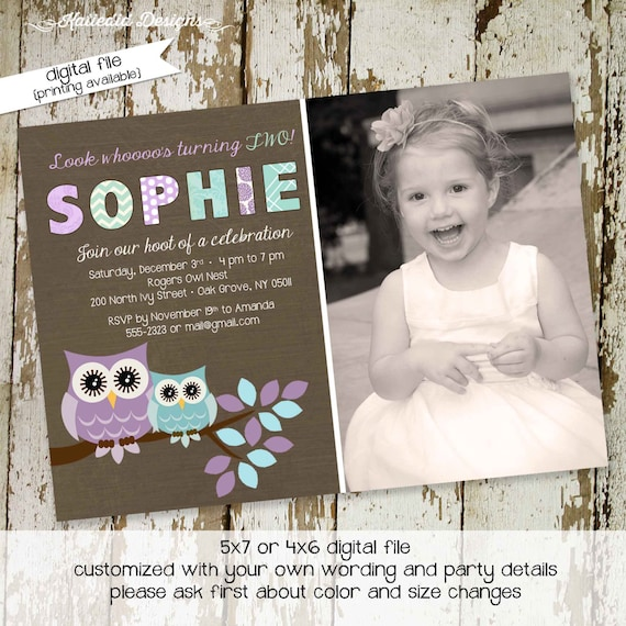 little girl 1st birthday invitation sonogram pregnancy announcement owl baby shower invitation purple teal kraft paper 257 Katiedid Designs