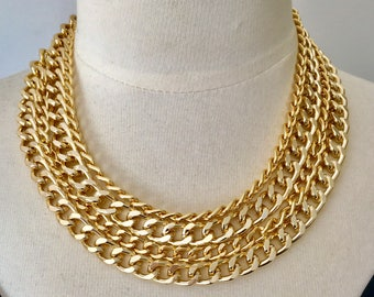 "Gold chain necklace,statement necklace,layered chain necklace,chunky chain necklace,modern necklace,""Go For Gold Statement Necklace"""