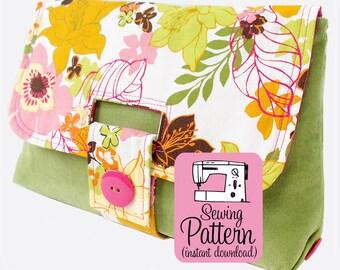 Strap Clutch PDF Sewing Pattern   Intermediate pattern to sew a clutch purse handbag with interior pockets and a unique strap closure.