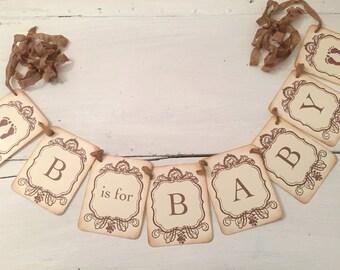 Gender Neutral Banner Gender Neutral Baby Shower Banner B is for Baby Footprints Shower Decoration