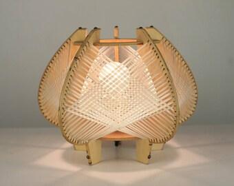 Table Lamp wood Raffia Nordic style years 70 vintage