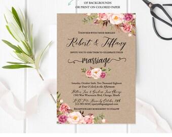 Indian Wedding Invitation, Rustic Wedding Invitation Template, Kraft Wedding Invitation, Wedding Invites, Printable pdf, Instant Download F9