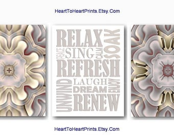 Gray Bathroom Wall Art Taupe Bathroom Wall Decor Silver Gray Bath Quote Relax Refresh Neutral Rustic Bathroom Art Prints Set of 3 Pictures