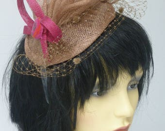 Brown and Pink Fascinator  REDUCED