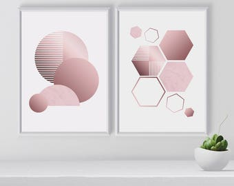 Set of Rose Gold Abstract Art Print, Set of 2 modern wall arts, Blush, Contemporary Art Print, Chirstmas Gift idea, Gift for Art lovers