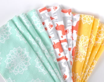 Reusable unpaper towels, set of 12, made with soft flannel dog and mandala prints