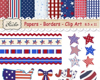 Patriotic Scrapbook Paper, Independence day paper, USA Scrapbook clip art, 4th July Craft supplies, Instant Download, red blue paper, Flags