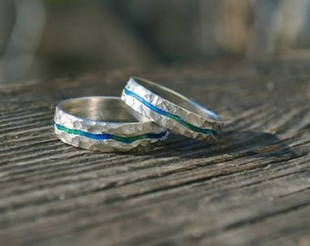 a pair of wedding bands, river wedding bands, one of a kind wedding bands