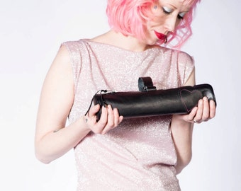 1950's Inspired tube shaped purse sewn in black leather with heart motif