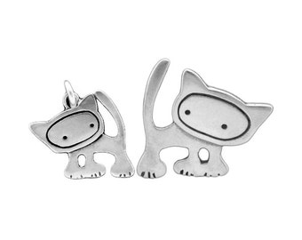 Mother Daughter Punk Kitty Necklace Set of 2 Sterling Silver Cat Pendants