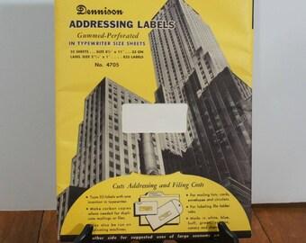 Vintage Dennison Typewriter Label Sheets
