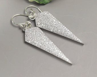 Pave Crystal Earrings Silver Crystal Dagger Earrings - Clear Crystal Earrings - Pave Jewelry - Long Statement Earrings for Women