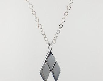 Silver Geometric Necklace, Geometric Necklace, Small Geometric Pendant, Silver Diamond