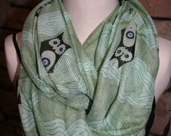 Owl Infinity Scarf- Green Owl Scarf -Chunky Woodland Owl Infinity Scarf Loop Scarf-Owl-Accessories-Summer Scarf-Origami