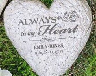 Sympathy Stones For The Garden Engraved memorial etsy engraved memorial heart garden stone garden decor garden decoration memorial garden heart workwithnaturefo