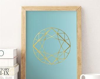 Gem Print, Mint Color, Wall Decor, Crystal Print, Crystal Poster, Geometric Print, Minimal Art, Modern Art.