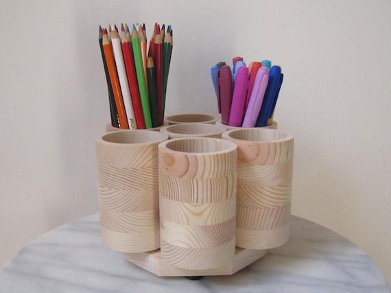 studio rotating colored pencil holder organizer wooden. Black Bedroom Furniture Sets. Home Design Ideas